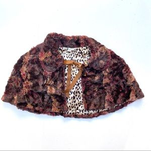 Alexia Admor Brown Faux Fur Cape Satin Leopard | 1